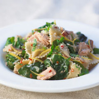 Farfalle With Tuna, Lemon & Spinach.