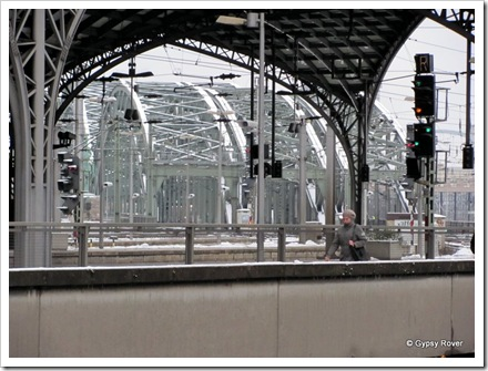 Rail bridge's over the river Rhine outside Cologne station.