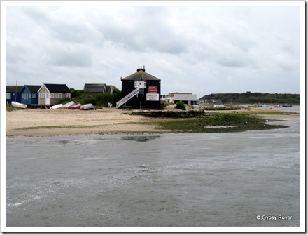 Mudeford beach across the harbour inlet.