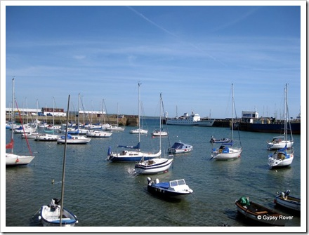 Penzance harbour with the Isle of Scilly ferry at the harbour entrance.