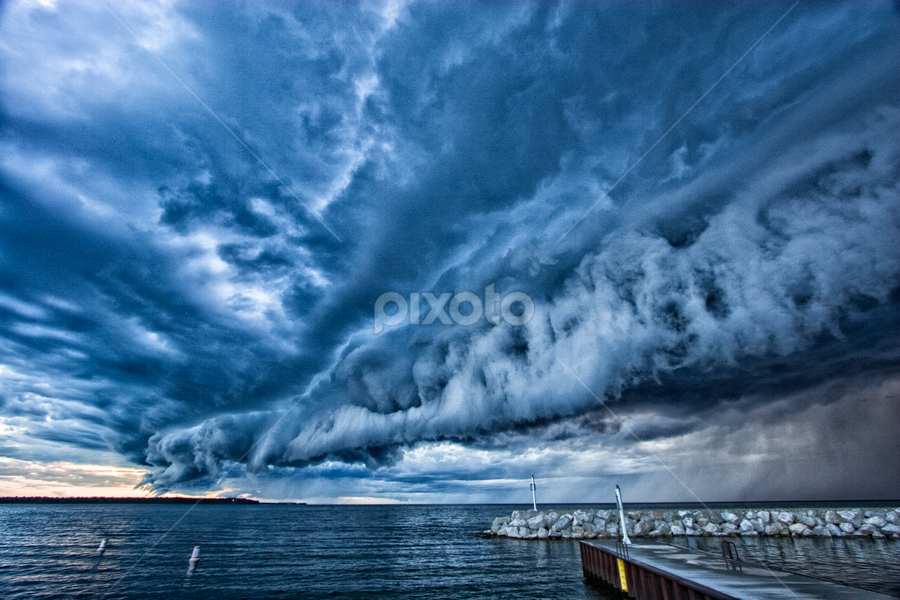 Lake Michigan Storm by John Magnus - Landscapes Weather ( wisconsin, lake michigan, thunderstorm, door county, lake, storm, stormy, weather )