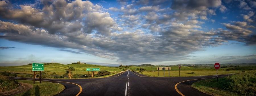 The Never Ending  by Daryl Visser - Landscapes Travel ( clouds, highway, grass, art, landscape, roads )