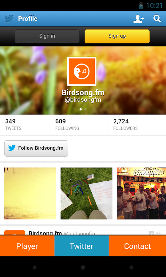 Birdsong.fm - screenshot