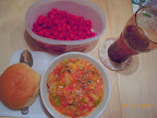 Summer supper - wild raspberries, ratatouille made with homegrown vegetables and herbs - sweet!