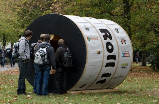 The cylindrical experimental house will begin to whirl your head!