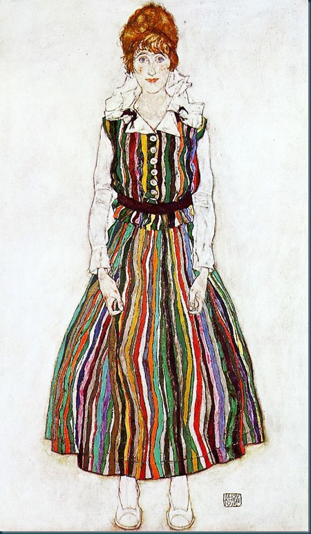 Schiele - portrait of edith schiele in a striped dress -  1915