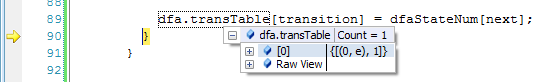 DFATransitionTable