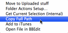 Mac OS Finder with Copy Full Path Automator service