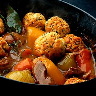 Shin of Beef Stew in Ale with Crusted Mustard and Chive Dumplings