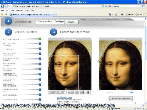 La Mona Lisa trattata con un intervento di chirurgia estetica virtuale