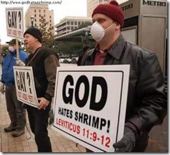 Left-wing protesters mockingly suggest God also hates shrimpers