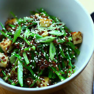 Asian Style Red Quinoa Salad with Tofu.