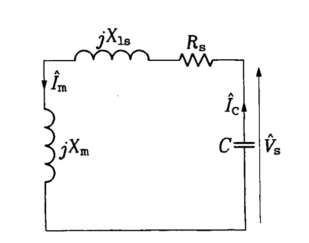 per-phase equivalent circuit of the stand-alone induction generator on no  load