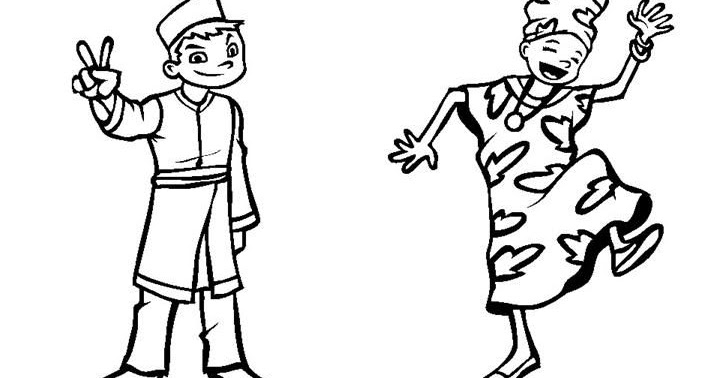 nigeria coloring pages | 為孩子們的著色頁: Outfit of Malaysia and Nigeria, free coloring pages