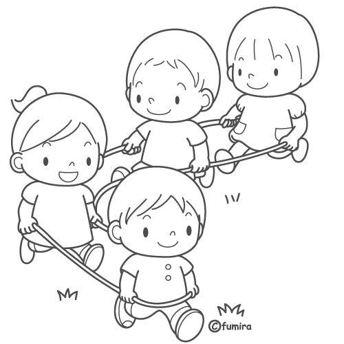 Dibujos De Niños Jugando La Cuerda Para Colorear Imagui