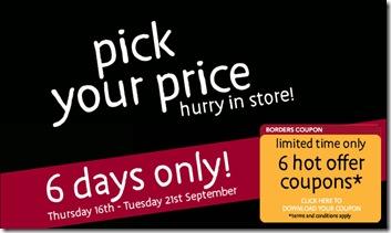 e13c4ac01e0c68 Borders Pick Your Price Promotion · Borders Pick your Price Promotion