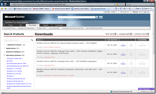 MSDN Download Link Disable Grayed-Out – For Windows 7 Windows 2008