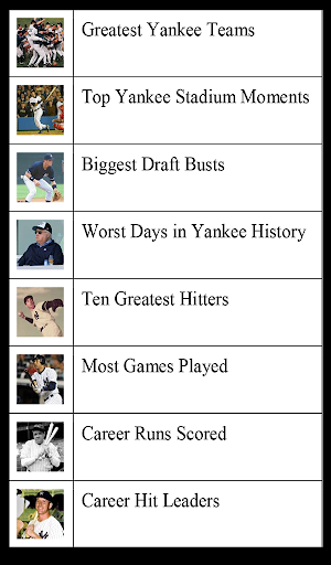 New York Baseball Lists NYY