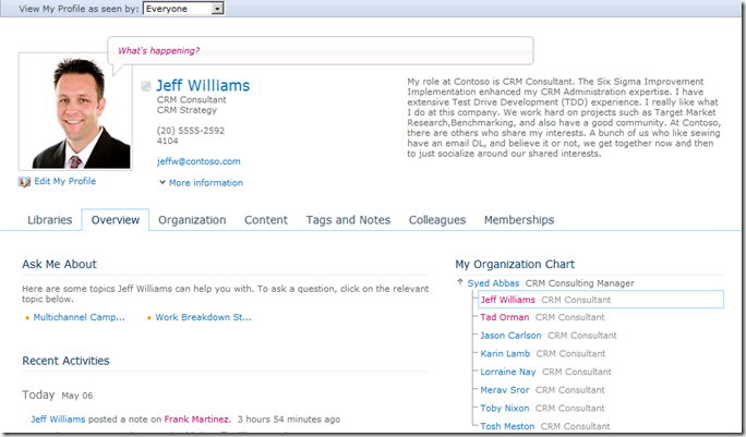 SharePoint 2010 My Site My Profile page
