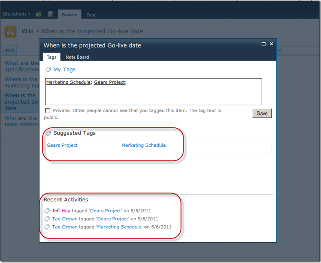 SharePoint 2010 Suggested Tags and Recent Activities