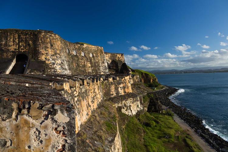 San Felipe del Morro Fort in Old San Juan, Puerto Rico. Construction of the citadel and its surrounding walls began in 1539.
