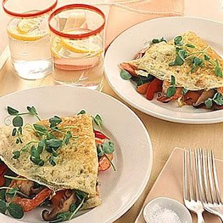 Stir-Fried Vegetable and Shrimp Omelet.
