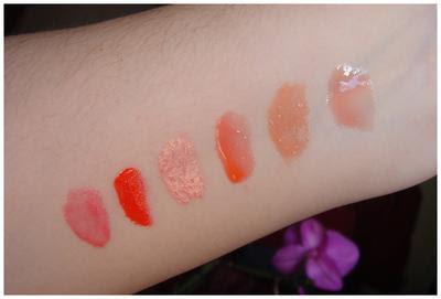 I gloss per l'estate 2010: nyx peach, illamasqua  temper, sephora 12, makeupforever 2, kiko 01, clinique 03