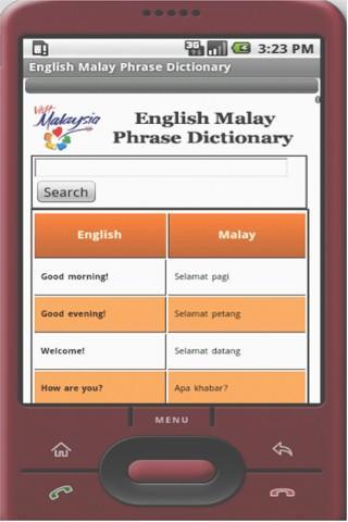EnglishMalay Phrase dictionary
