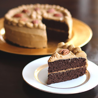 Chocolate Pear Layer Cake with Caramel Frosting
