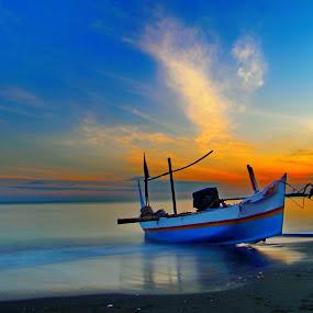 perahu by Dugalan Poto - Transportation Boats ( laut, dugalanisme, indonesia, dugalan, sea, sunrise, beach, boat, landscape, tegal, , water, device, transportation, blue, orange. color )