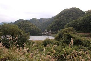 県道からダム湖・堤体を望む