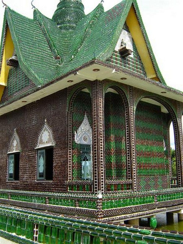 Buddhist Temple Built From Beer Bottles Amusing Planet