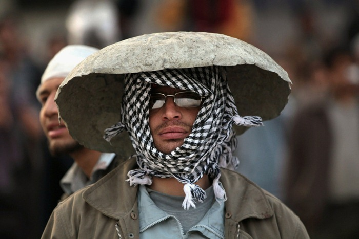 Funny Pictures About Egypt: Funny Headgear At Egypt Protest