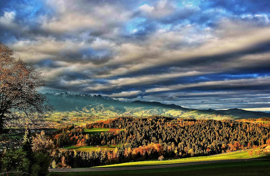 Autumn by Franz Stucki - Landscapes Cloud Formations ( clouds, skye, autumn, sun )