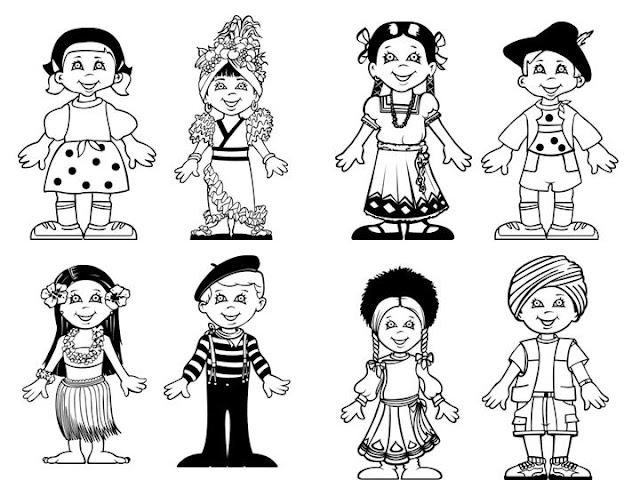 Culturas Del Mundo Para Colorear: COLOREAR NIÑOS DEL MUNDO