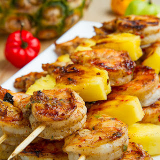 Grilled Jerk Shrimp and Pineapple Skewers.