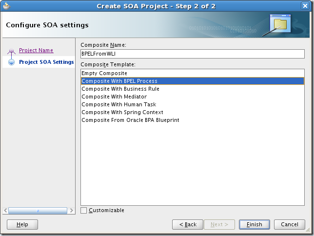 Screenshot-Create SOA Project - Step 2 of 2