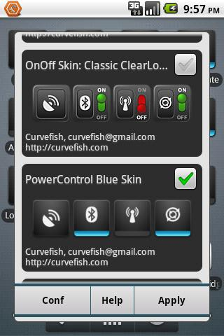 OnOff Skin: PowerControl Blue- screenshot
