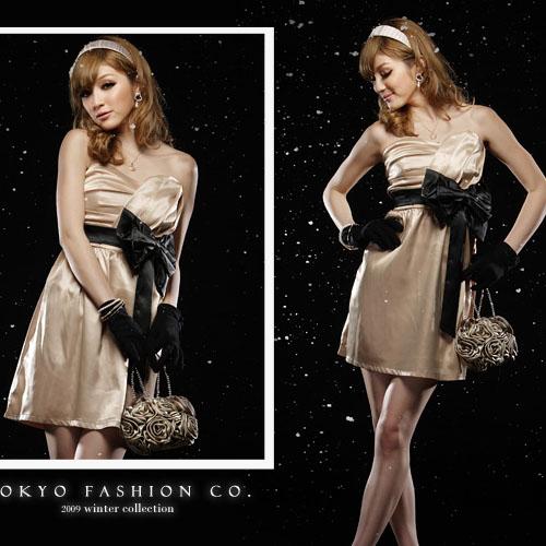 New Women Korea Strapless Bowknot Cocktail Party Dress
