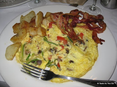 Season Vegetable Frittata with Country Potatoes and Bacon at La Giara in New York, NY | Taste As You Go