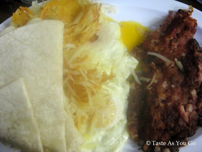 Corned Beef Hash, Eggs, Hash Browns, and Tortillas from The Place in Flagstaff, AZ - Photo by Taste As You Go