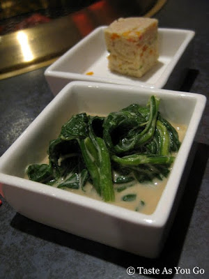 Tofu with Vegetables and Spinach with Peanut Sauce at Red & Black in New York, NY - Photo by Taste As You Go