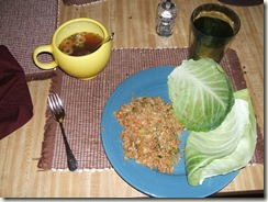 cabbage wraps and miso soup