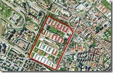 In rosso l'area dove dovrebbe sorgere il sito di stoccaggio