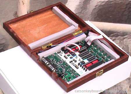 An AVR STK 500 development board in a custom case