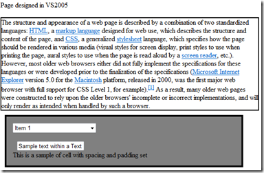 Web-page viewed in IE7 using Quirks mode