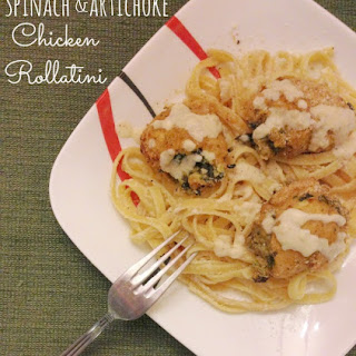 Spinach and Artichoke Dip Chicken Rollatini with Alfredo