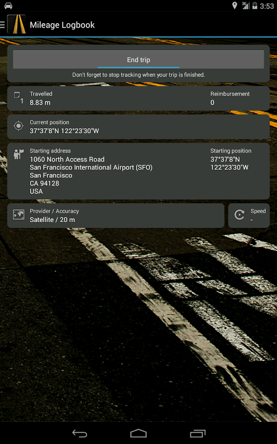 Mileage Logbook- screenshot