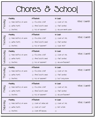 Our Chore System & Chore Charts for Kids Printables