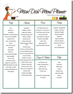 My Main Dish Menu Planner